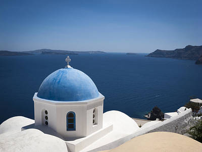 Santorini Church On A Summer Day Poster by Don McGillis