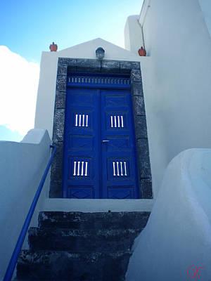 Santorini Door  To Heaven  Poster