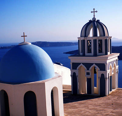 Poster featuring the photograph Santorini  Island Church Greece  by Colette V Hera  Guggenheim