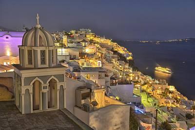 Santorini Night Poster