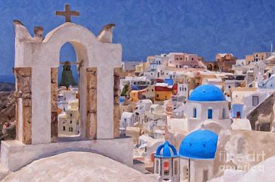 Santorini Oia Belltower Digital Painting Poster by Antony McAulay