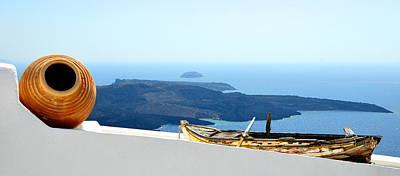 Santorini Rooftop Poster by Corinne Rhode