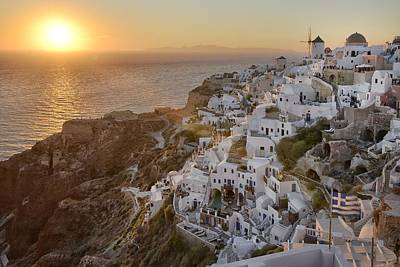 Santorini Sunset Poster by Christian Heeb