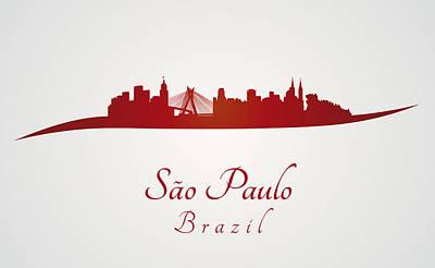 Sao Paulo Skyline In Red Poster by Pablo Romero