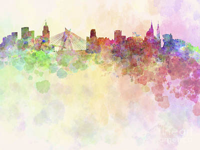 Sao Paulo Skyline In Watercolour Background Poster by Pablo Romero