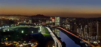 Sao Paulo Skyline At Dusk - Jockey Club - Pinheiros River Towards Pico Do Jaragua Poster by Carlos Alkmin