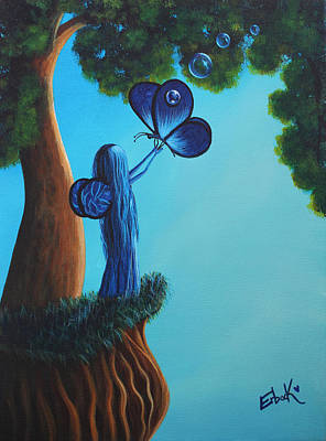 Sapphire Fairy Original Whimsical Painting Poster by Shawna Erback