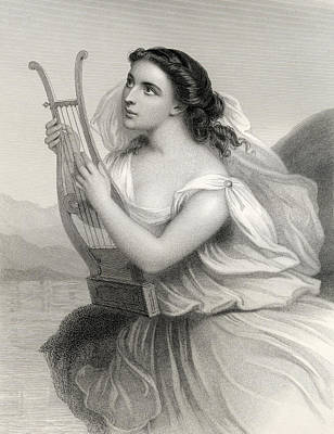 Sappho,illustration From World Noted Women By Mary Cowden Clarke, 1858 Engraving Poster by Pierre Gustave Eugene Staal
