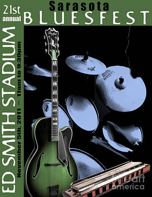 Poster featuring the digital art Sarasota Bluesfest-green by Megan Dirsa-DuBois