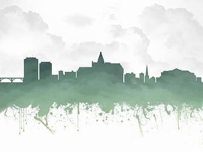 Saskatoon Saskatchewan Skyline - Teal 03 Poster by Aged Pixel