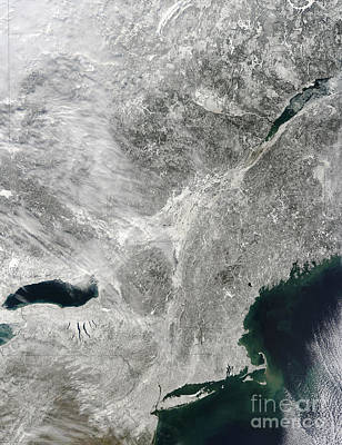 Satellite View Of A Large Noreaster Poster by Stocktrek Images
