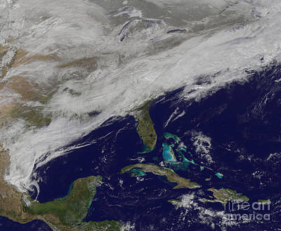 Satellite View Of A Major Winter Storm Poster by Stocktrek Images