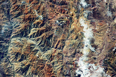 Satellite View Of Andes Mountain Range Poster