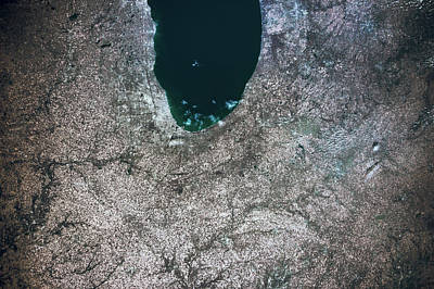 Satellite View Of Chicago And Lake Poster