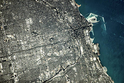 Satellite View Of Chicago City Poster