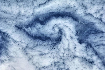 Satellite View Of Cloud Spiral Poster