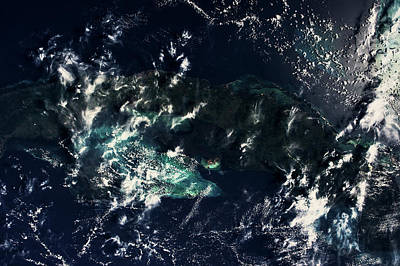 Satellite View Of Clouds Over Gulf Poster