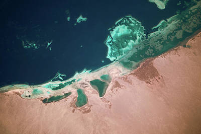 Satellite View Of Coastal Area And Red Poster