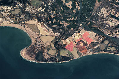 Satellite View Of Coastal Town In France Poster