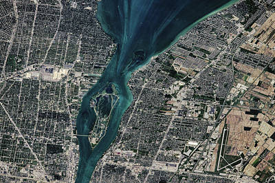 Satellite View Of Detroit River Poster