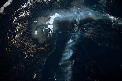 Satellite View Of European Alps Poster