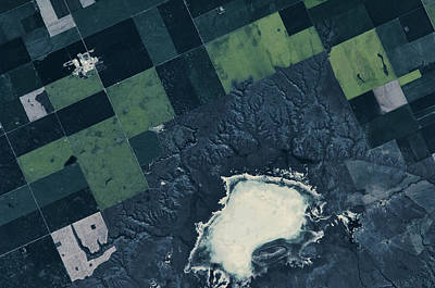 Satellite View Of Fields Poster
