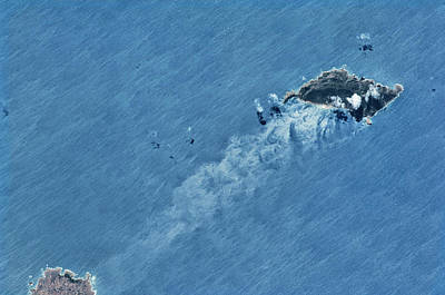 Satellite View Of Island Poster