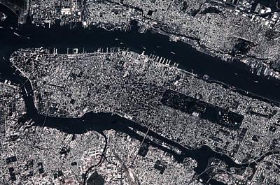 Satellite View Of Manhattan, New York Poster