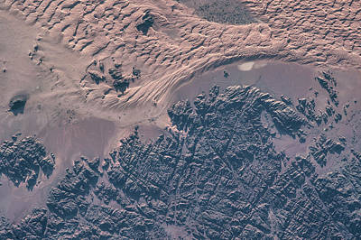 Satellite View Of Wet Sand On Riverbed Poster