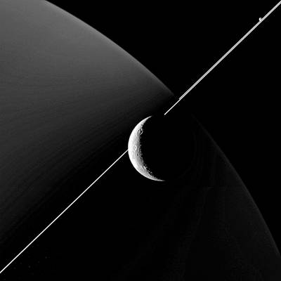 Saturn And Dione Poster by Nasa/jpl-caltech/space Science Institute