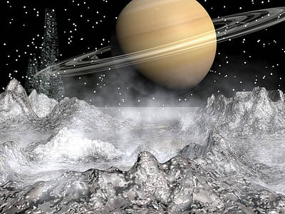 Saturn And Enceladus Poster