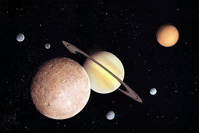Saturn And Moons Poster by Richard Bizley
