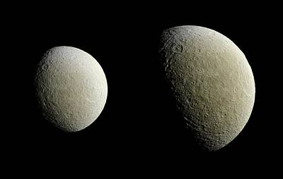 Saturn's Moon Rhea Poster by Nasa/jpl-caltech/space Science Institute