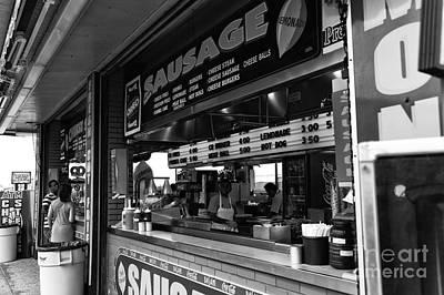 Sausage On The Boardwalk Mono Poster