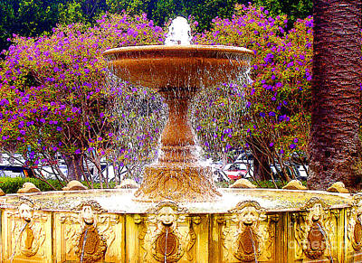 Sausalito California Fountain Poster by Jerome Stumphauzer