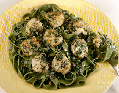 Sauteed Scallops On Spinach Noodles Poster by Iris Richardson