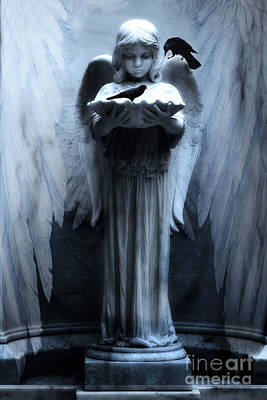Savannah Bonaventure Spooky Angel With Ravens Poster by Kathy Fornal