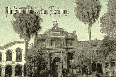 Savannah Cotton Exchange - Old Ink Poster by Art America Gallery Peter Potter