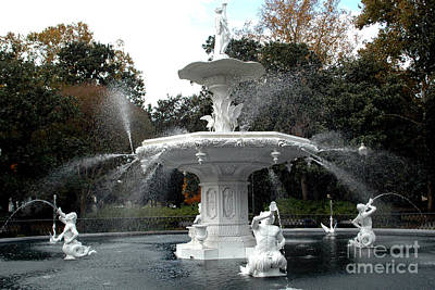 Savannah Georgia Forsythe Fountain - Forsythe Fountain Square Dreamy Landscape  Poster by Kathy Fornal
