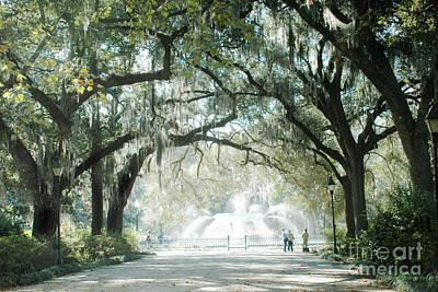 Savannah Georgia Forsyth Fountain Oak Trees With Moss Poster by Kathy Fornal