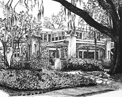 Poster featuring the drawing Savannah Living by Rachel Hames