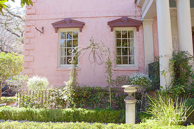 Savannah The Olde Pink House Restaurant Architecture - Savannah Romantic Pink House And Gardens  Poster by Kathy Fornal