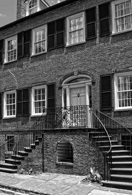 Savannah's Davenport House In Black And White Poster