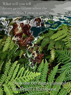 Poster featuring the photograph Save The Amazon Rain Forest. Stop Damming by John Fish