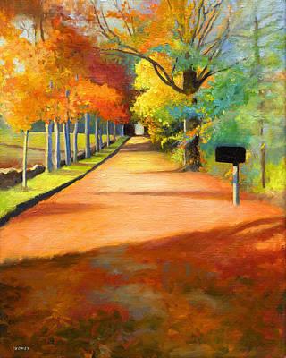 Sawmill Road Autumn Vermont Landscape Poster