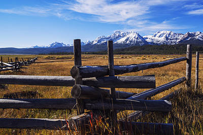 Sawtooth Mountains And Wooden Fence Poster by Vishwanath Bhat