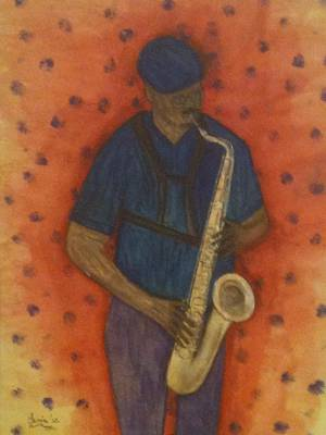 Sax Man Poster by Larry Farris