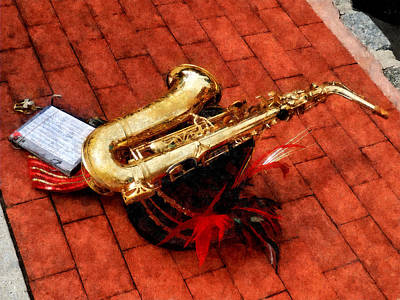 Saxophone Before The Parade Poster by Susan Savad