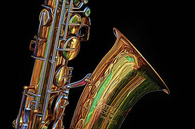 Poster featuring the photograph Saxophone by Dave Mills