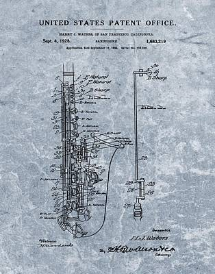 Saxophone Patent Cool Blue Poster